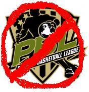 The Premier Basketball League logo with a line through it.