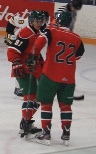 MacKinnon and Frk confer before a face in QMJHL preseason action