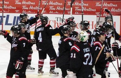 QMJHL Halifax Mooseheads celebrates a victory as a team